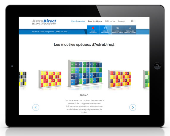 AstraDirect, Website, französisch