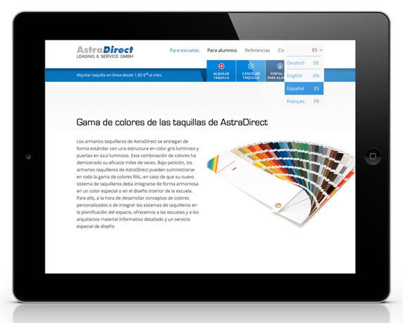 AstraDirect, Website, spanisch