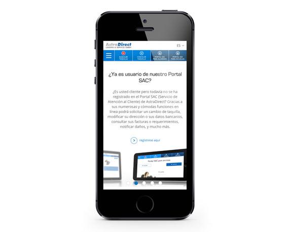 AstraDirect, Website, spanisch, Smartphone