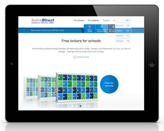AstraDirect, Website, englisch, Sprachauswahl