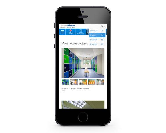 AstraDirect, Website, englisch, Smartphone