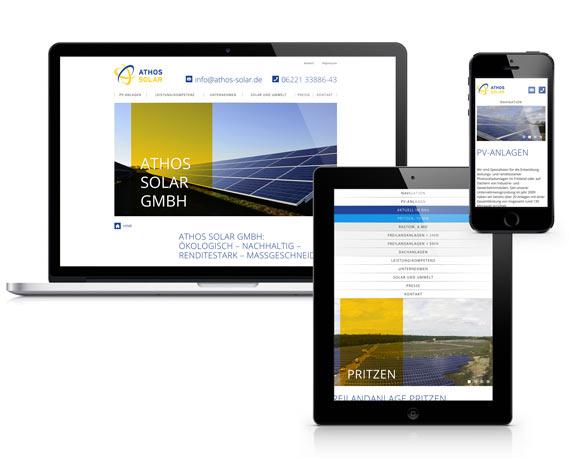 Athos Solar, Website, Endgeräte, Werbeagentur Mannheim, magenta