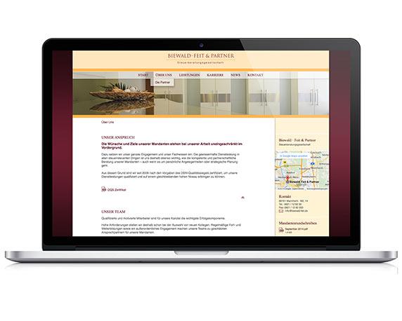 Biewald, Feit & Partner, Website