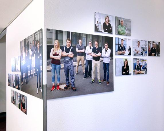 CSL Behring, Marburg, Azubi, Portraits, Räumlichkeiten, Wandgestaltung, Collage, Werbeagentur Mannheim, magenta