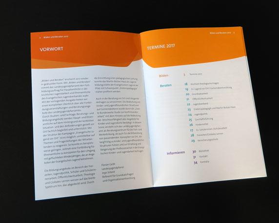 Evangelische Jugend Pfalz, Landesjugendpfarramt, Corporate Design, Logo, Broschüre, Bilden und Beraten