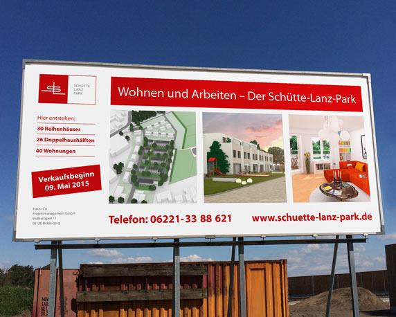 Haus+Co, Schütte-Lanz-Park, Baustellenbanner