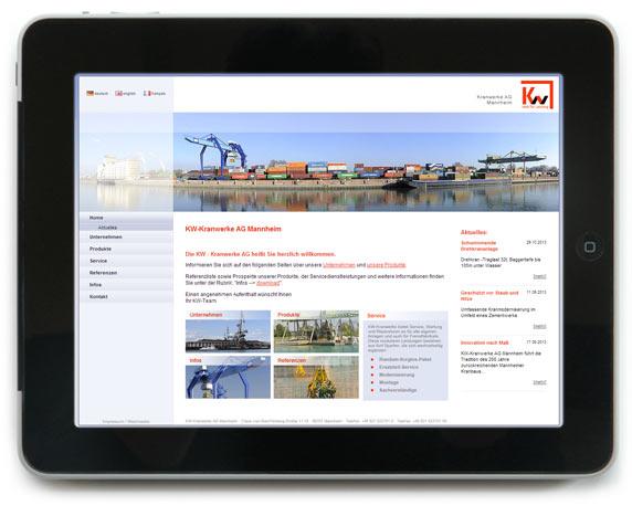 Kranwerke AG Mannheim, Website, Werbeagentur magenta, Mannheim