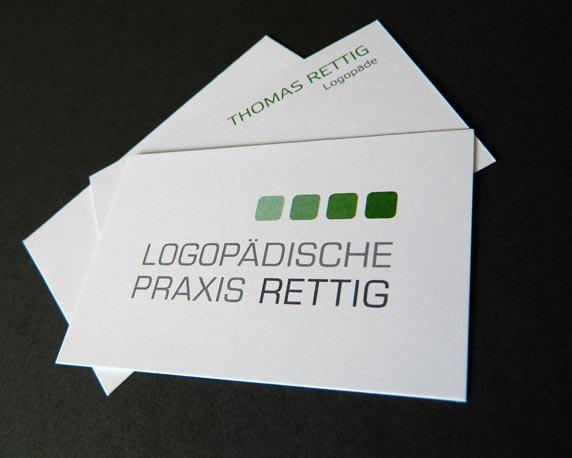 Logopädische Praxis Rettig, neues Design, Visitenkarten, Geschäftsausstattung