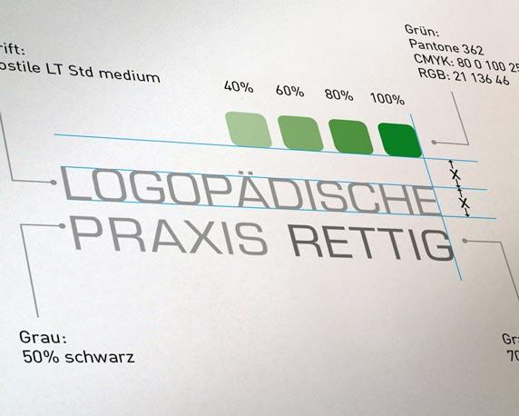 Logopädische Praxis Rettig, neues Design, Logo, CD Manual