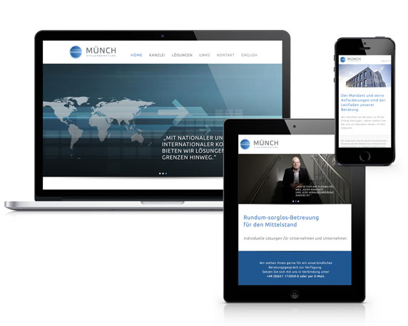 Münch Steuerberatung, Website, Devices, Werbeagentur magenta, Mannheim
