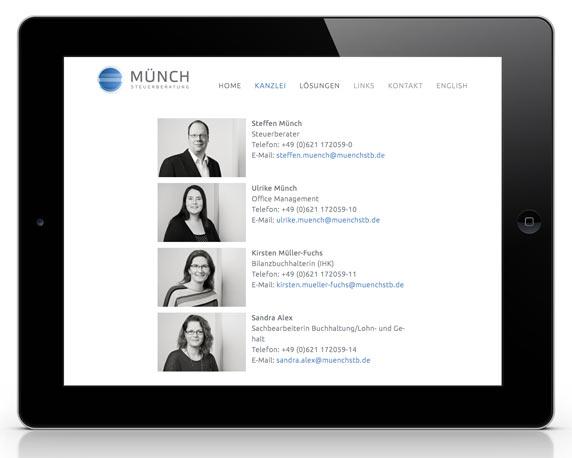 Münch Steuerberatung, Website, Mitarbeiter, Kanzlei, Tablet