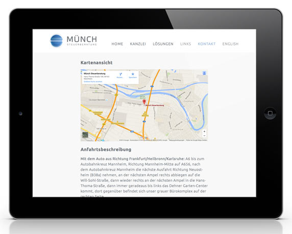 Münch Steuerberatung, Website, Anfahrtsbeschreibung, Tablet