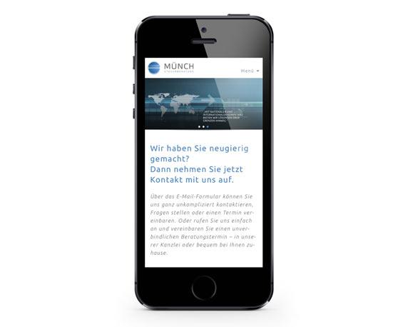 Münch Steuerberatung, Website, Kontakt, Smartphone