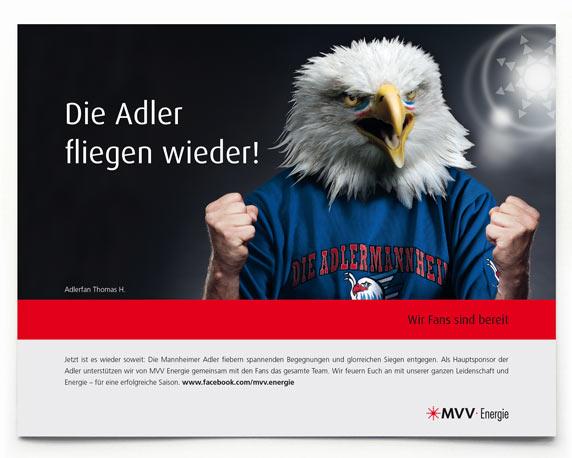 MVV Energie AG, Anzeige des Monats, Adler Mannheim, Werbeagentur magenta, Mannheim