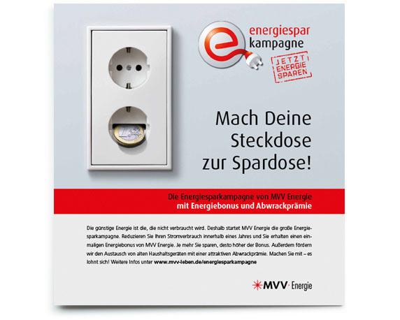 Motiv aus der Anzeigenreihe der Energiesparkampagne von MVV