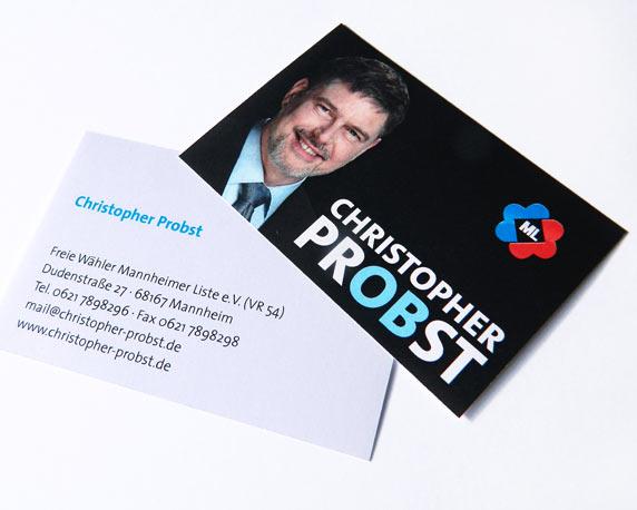 Christopher Probst, Kandidat, Oberbürgermeisterwahl, Visitenkarten