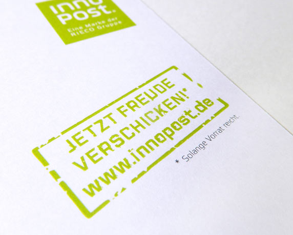 RIECO Gruppe, InnoPost, Postkarte, Mailing. Stempel