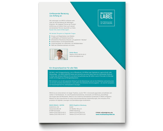 Broschüre, Multitasking-Label, Corporate Design, RIECO Gruppe