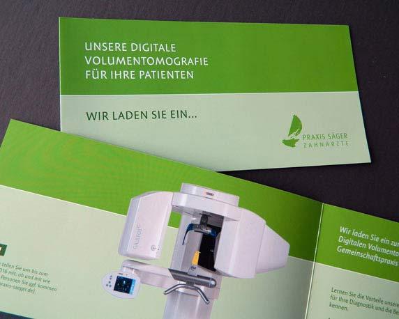 Dr. Säger, Zahnarzt, Grünstadt, Volumentomografie, Einladung, Werbeagentur Mannheim, magenta
