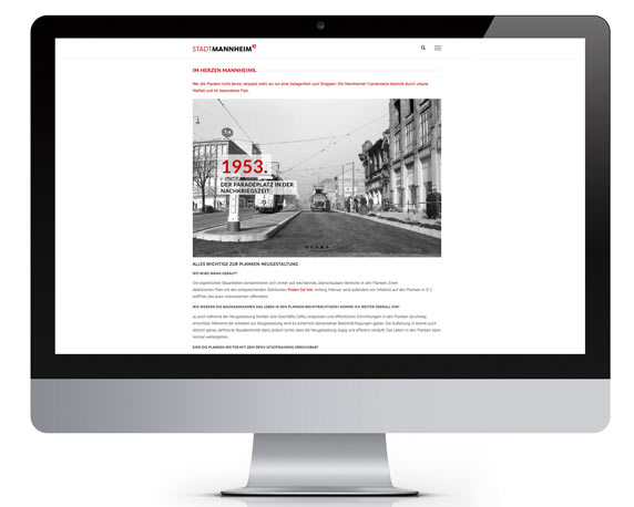 Stadtmarketing Mannheim, Plankenumbau, Website, Historie