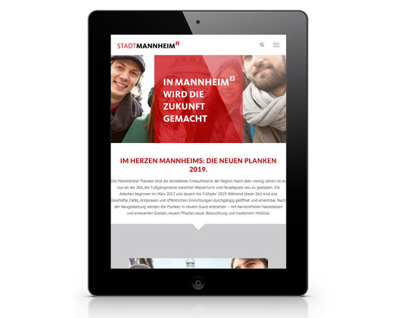 Stadtmarketing Mannheim, Plankenumbau, Website, Tablet