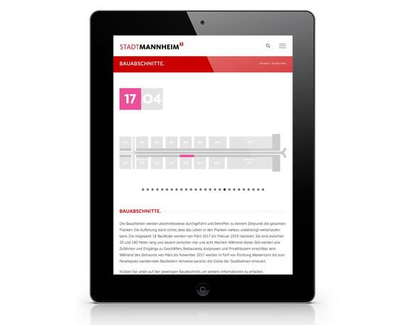 Stadtmarketing Mannheim, Plankenumbau, Website, Tablet, Bauabschnitt 17