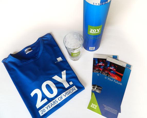 SysCon GmbH, Jubiläum, Logo, 20 Jahre, Dubbeglas, Flyer, Funktionsshirt