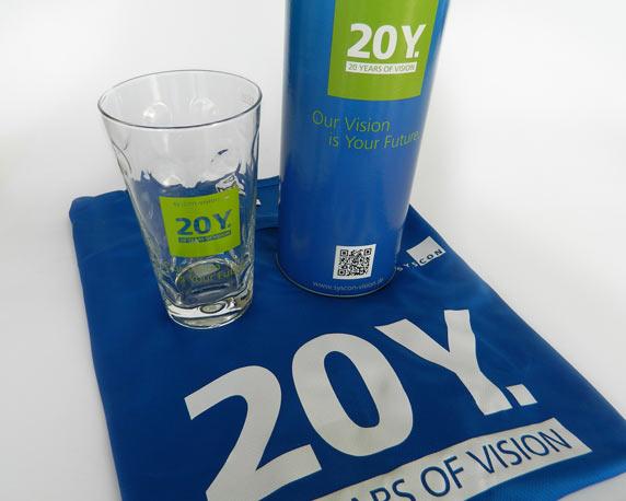 SysCon GmbH, Jubiläum, Logo, 20 Jahre, Dubbeglas, Funktionsshirt