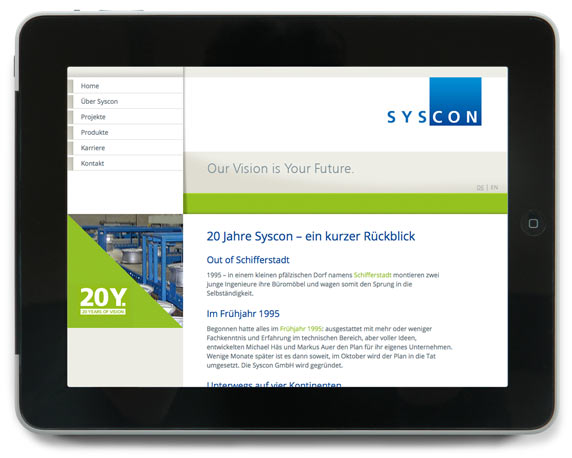 SysCon GmbH, Jubiläum, 20 Jahre, Website