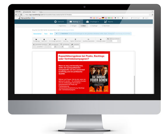 tms connected!, Newsletter, Mailing, Nesletter2Go, Versand, Plattform