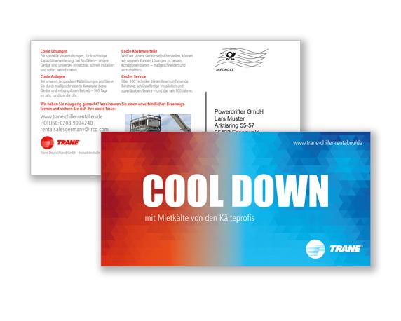 TRANE, Postkarte, Mailing, cool down, Mietlösungen