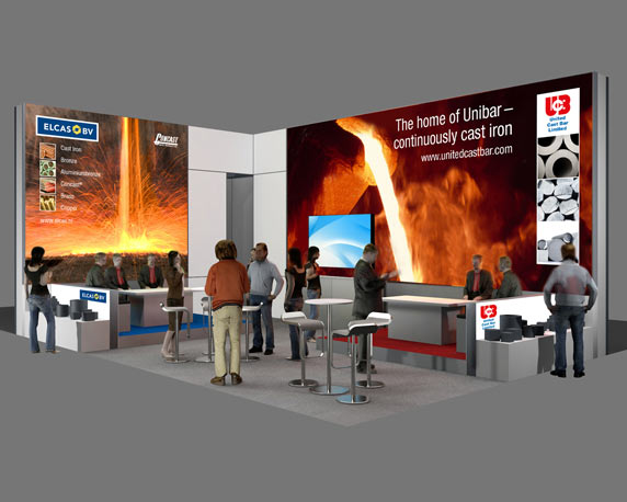 United Cast Bar Group, UCB, Messestand, Hannover, 3d-Simulation