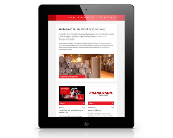 United Cast Bar Group, UCB, Website, Tablet