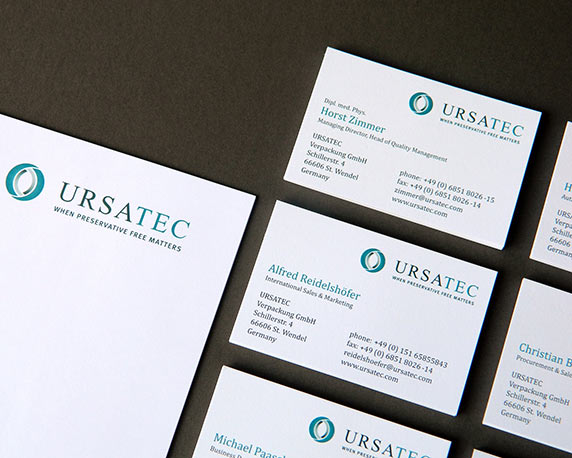 Ursatec, Geschäftsausstattung, Briefbogen, Visitenkarten, Werbeagentur magenta, Mannheim