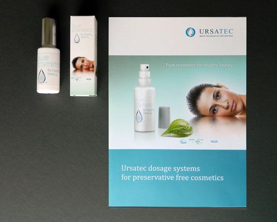 Ursatec, Dosiersysteme, Pure Cosmetics, Verpackung, Produktfolder