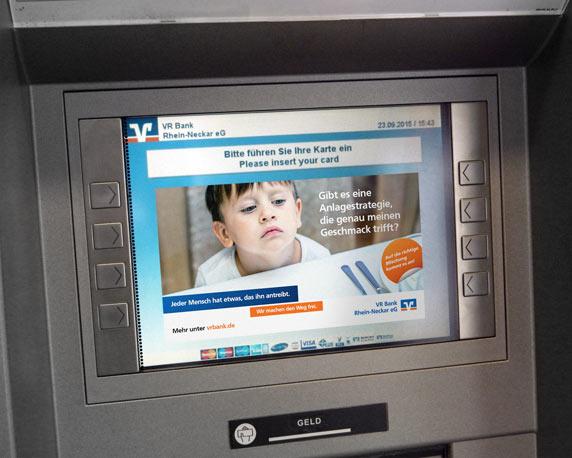 VR Bank Rhein-Neckar, Kampagne, Bankautomat, Bildschirmmotiv