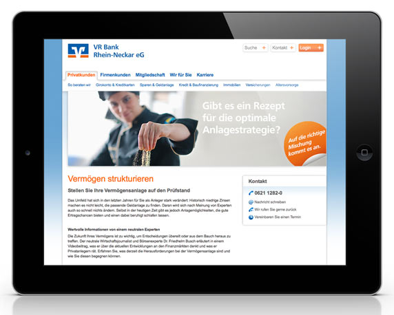 VR Bank Rhein-Neckar, Kampagne, Online-Banner, Vermögensstrukturoptimierung