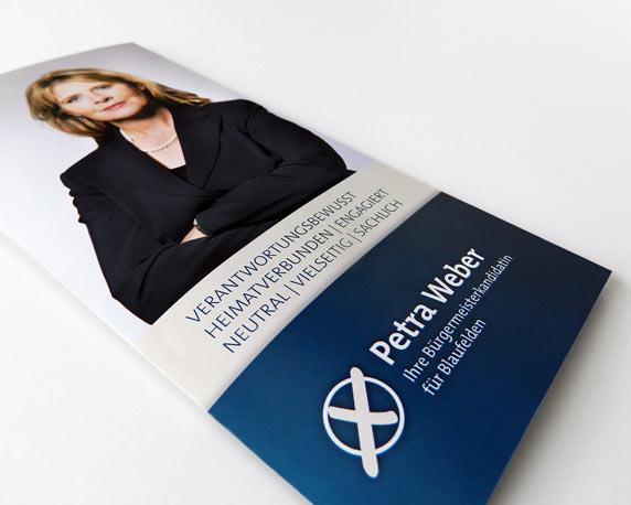 Petra Weber, Info-Folder, DIN lang, Werbeagentur magenta, Mannheim