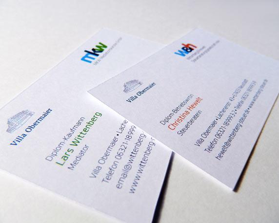 mkw Mediationskanzlei, Wittenberg & Hewelt, Corporate Design, Visitenkarten, Werbeagentur magenta, Mannheim
