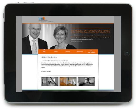 Wittenberg & Hewelt Steuerberatungsgesellschaft, Website, Startseite