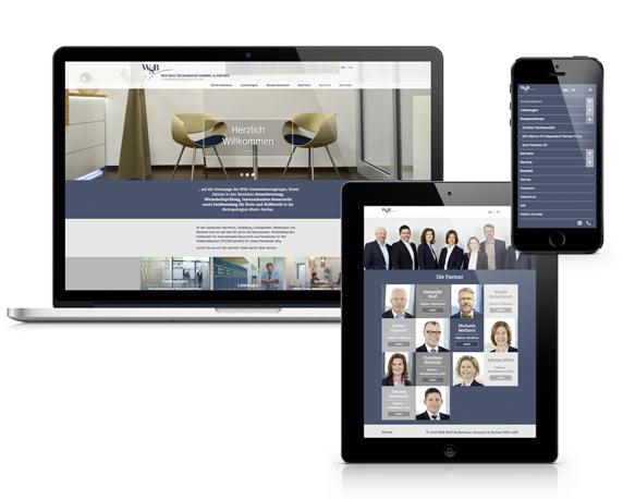 Typo3 Website WSB-Unternehmensgruppe auf verschiedenen Devices mit Bootstrap Package magenta Werbeagentur Mannheim