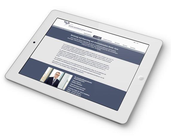 WSB-Unternehmensgruppe, Website, Leistungen, Tablet, mobil