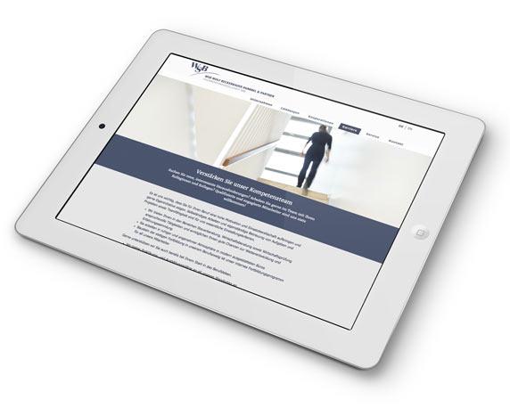 WSB-Unternehmensgruppe, Website, Stellenangebote, Tablet, mobil