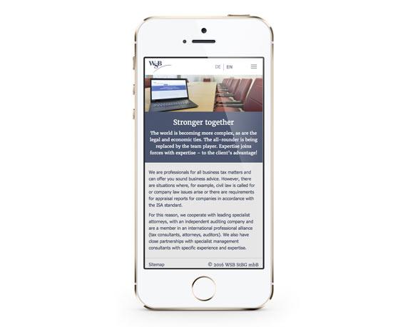 WSB-Unternehmensgruppe, Website, Smartphone, mobil, englisch