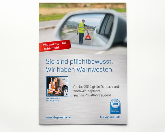 Zentralverband des Deutschen Kraftfahrzeuggewerbes, Poster, Warnwestenpflicht