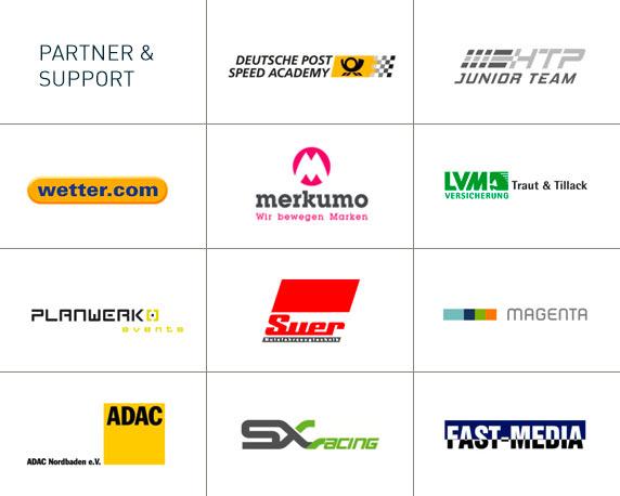 Deutsche Post, HTP Junior Team, wetter.com, merkumo, LVM, Planwerk Events, ADAC, SX Racing, Fast Media, Magenta