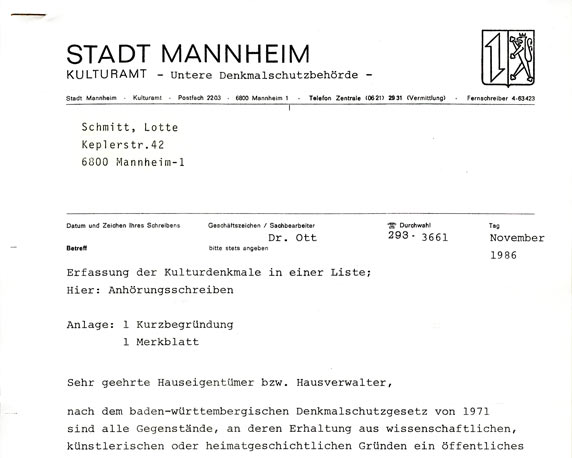 Keplerstraße, Mannheim, Dokument, 1986