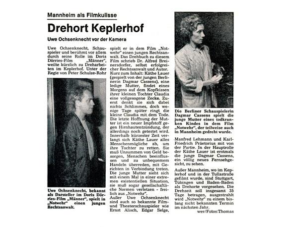 Filmdreh, Uwe Ochsenknecht, Keplerhof, Zeitungsartikel, Werbeagentur Mannheim, magenta