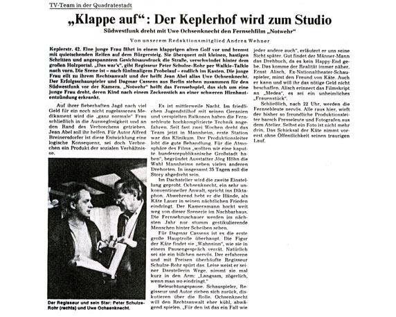 Filmdreh, Uwe Ochsenknecht, Keplerhof, Zeitungsartikel